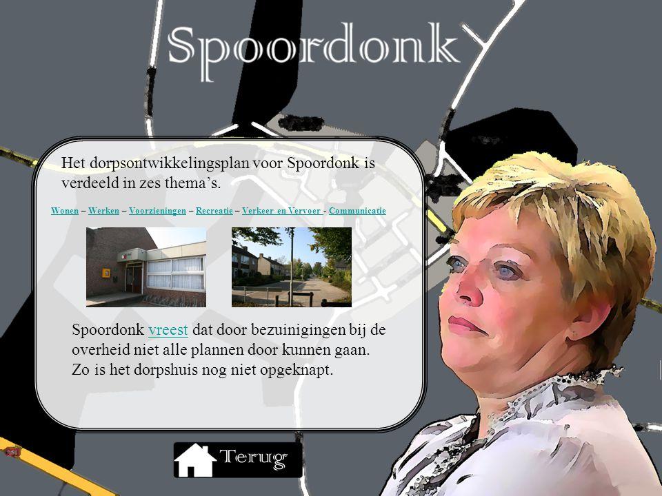 Het dorpsontwikkelingsplan voor Spoordonk is verdeeld in zes thema's. Spoordonk vreest dat door bezuinigingen bij de overheid niet alle plannen door k