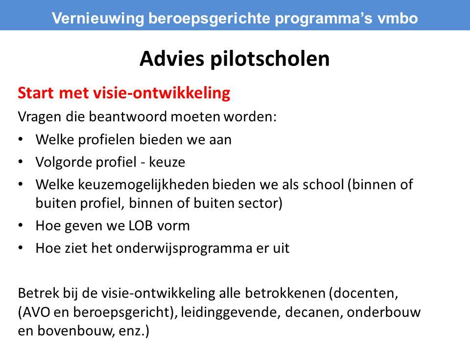 Advies pilotscholen Start met visie-ontwikkeling Vragen die beantwoord moeten worden: Welke profielen bieden we aan Volgorde profiel - keuze Welke keu