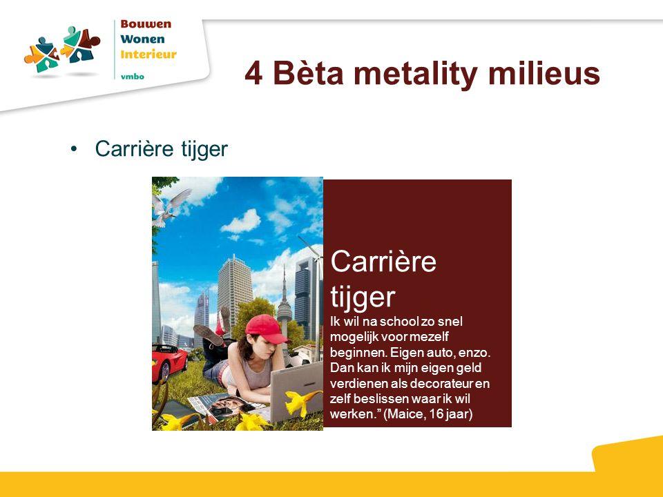 4 Bèta metality milieus Carrière tijger Ik wil na school zo snel mogelijk voor mezelf beginnen. Eigen auto, enzo. Dan kan ik mijn eigen geld verdienen