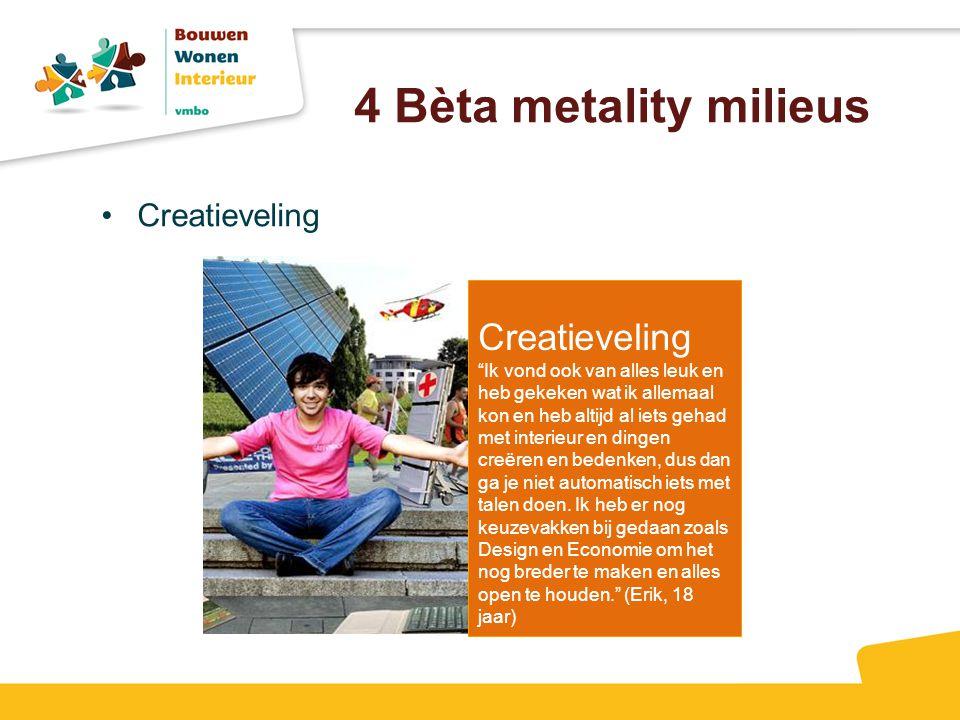 """4 Bèta metality milieus Creatieveling """"Ik vond ook van alles leuk en heb gekeken wat ik allemaal kon en heb altijd al iets gehad met interieur en ding"""