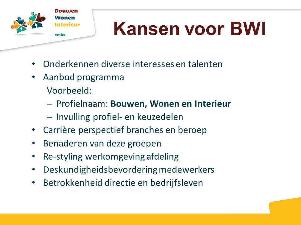Kansen voor BWI Onderkennen diverse interesses en talenten Aanbod programma Voorbeeld: – Profielnaam: Bouwen, Wonen en Interieur – Invulling profiel-