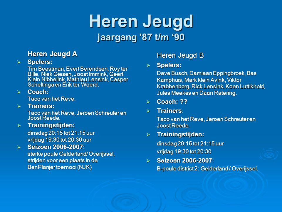 Jongens aspiranten jaargang '91 en '92  Spelers: Barry Bloemberg, Joren Bokkers, Tom de Graaf, Roel de Jong, Niels Kempers, Stijn Lensink, Wietse Scheltinga, Koen Sterenborg, Niels Wekking  Coach: Chris Bloemberg  Trainer: Chris Bloemberg  Trainingstijden : dinsdag 19:30 tot 20:15 uur donderdag 18:00 tot 18:45 uur  Seizoen 2006-2007: sterke poule district 2: Gelderland / Overijssel.