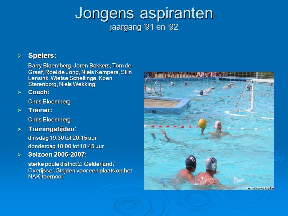 Jongens aspiranten jaargang '91 en '92  Spelers: Barry Bloemberg, Joren Bokkers, Tom de Graaf, Roel de Jong, Niels Kempers, Stijn Lensink, Wietse Sch