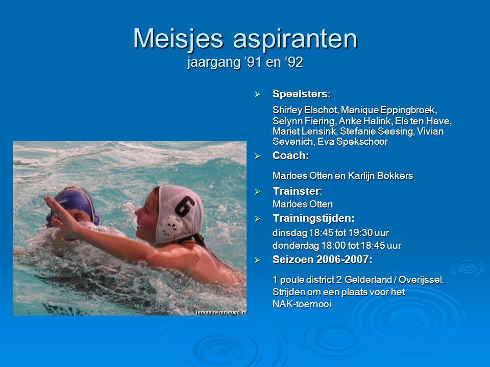 Meisjes aspiranten jaargang '91 en '92  Speelsters: Shirley Elschot, Manique Eppingbroek, Selynn Fiering, Anke Halink, Els ten Have, Mariet Lensink,