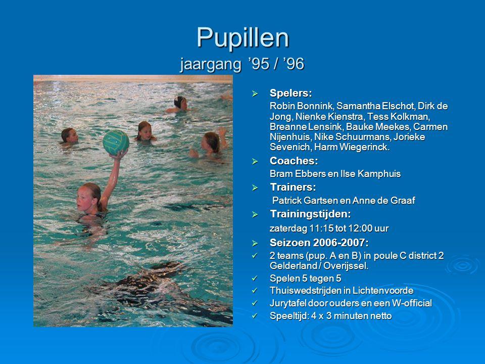 Pupillen jaargang '95 / '96  Spelers: Robin Bonnink, Samantha Elschot, Dirk de Jong, Nienke Kienstra, Tess Kolkman, Breanne Lensink, Bauke Meekes, Ca