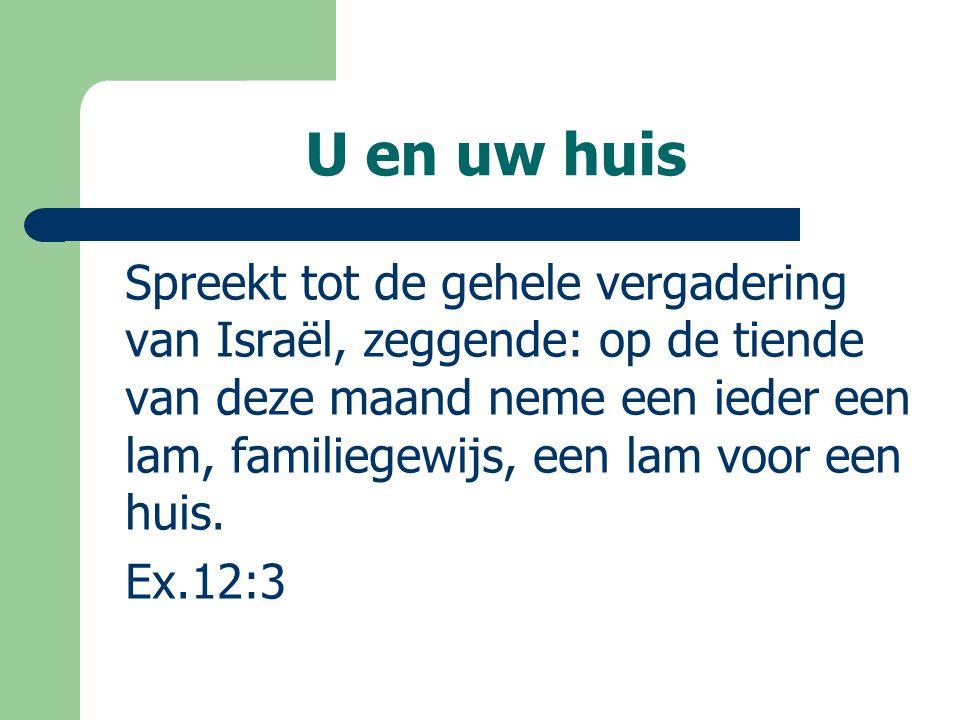 Spreekt tot de gehele vergadering van Israël, zeggende: op de tiende van deze maand neme een ieder een lam, familiegewijs, een lam voor een huis. Ex.1