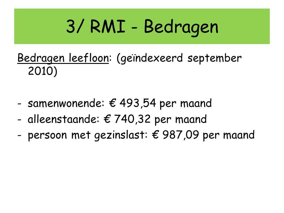 3/ RMI - Bedragen Bedragen leefloon: (geïndexeerd september 2010) -samenwonende: € 493,54 per maand -alleenstaande: € 740,32 per maand -persoon met ge