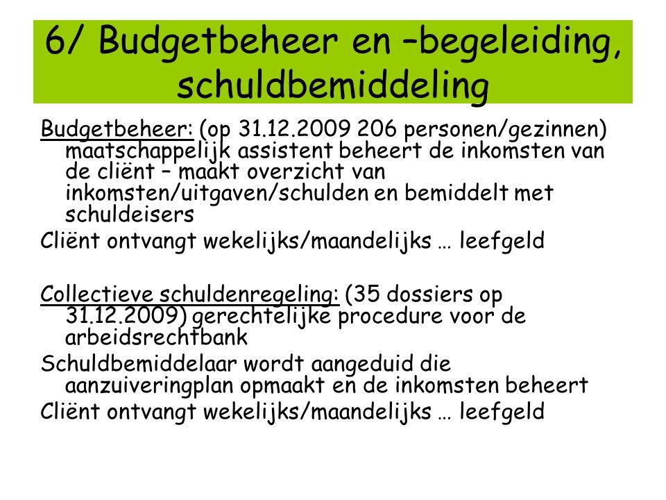 6/ Budgetbeheer en –begeleiding, schuldbemiddeling Budgetbeheer: (op 31.12.2009 206 personen/gezinnen) maatschappelijk assistent beheert de inkomsten