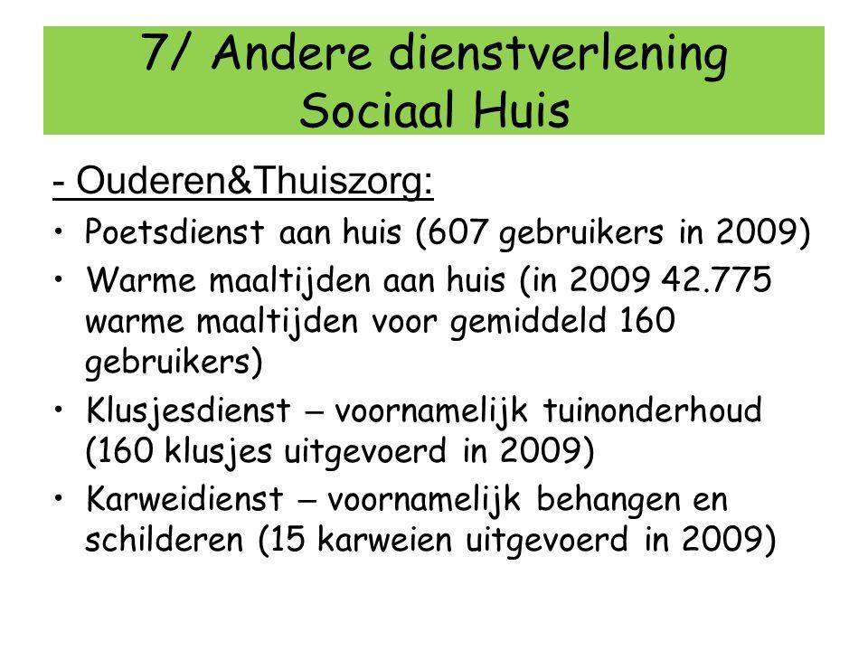 7/ Andere dienstverlening Sociaal Huis - Ouderen&Thuiszorg: Poetsdienst aan huis (607 gebruikers in 2009) Warme maaltijden aan huis (in 2009 42.775 wa