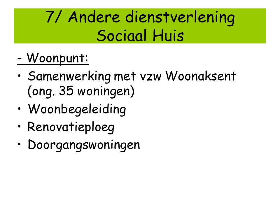 7/ Andere dienstverlening Sociaal Huis - Woonpunt: Samenwerking met vzw Woonaksent (ong. 35 woningen) Woonbegeleiding Renovatieploeg Doorgangswoningen