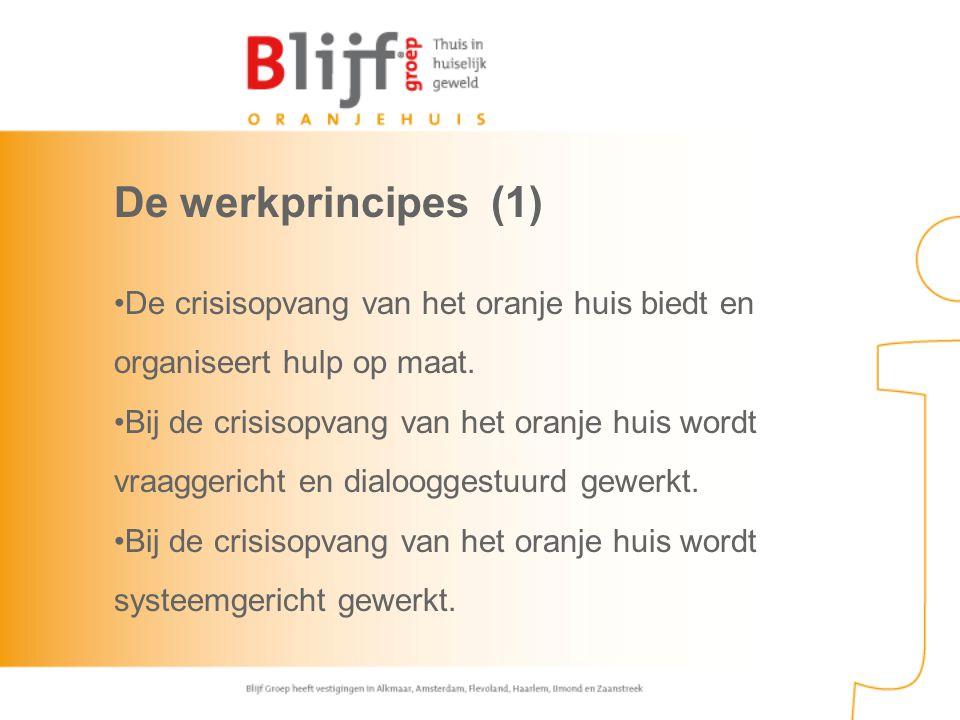 De werkprincipes (1) De crisisopvang van het oranje huis biedt en organiseert hulp op maat. Bij de crisisopvang van het oranje huis wordt vraaggericht