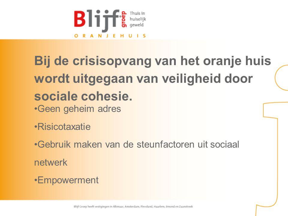Bij de crisisopvang van het oranje huis wordt uitgegaan van veiligheid door sociale cohesie. Geen geheim adres Risicotaxatie Gebruik maken van de steu