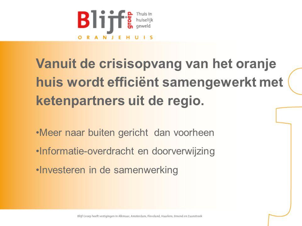 Vanuit de crisisopvang van het oranje huis wordt efficiënt samengewerkt met ketenpartners uit de regio.
