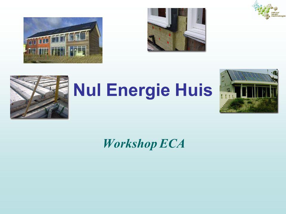 Energie Consumptie Analyse (ECA) Doel: in beeld brengen hoe de energiestromen lopen Ingekochte energie (rekening energie- leverancier) –Elektriciteit –Gas –…