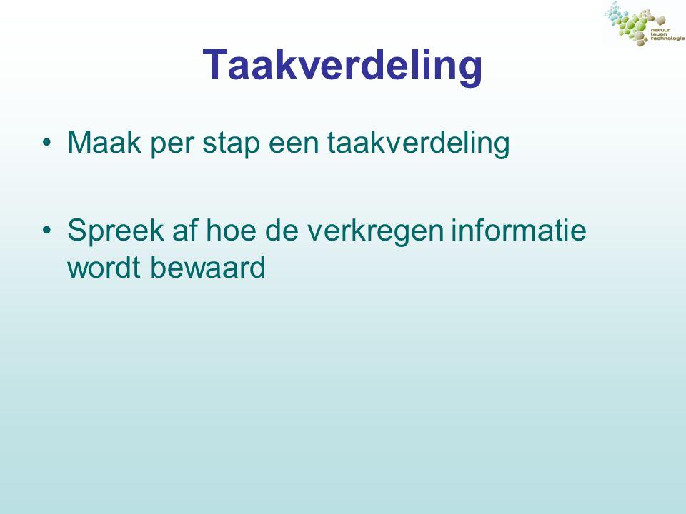 Taakverdeling Maak per stap een taakverdeling Spreek af hoe de verkregen informatie wordt bewaard