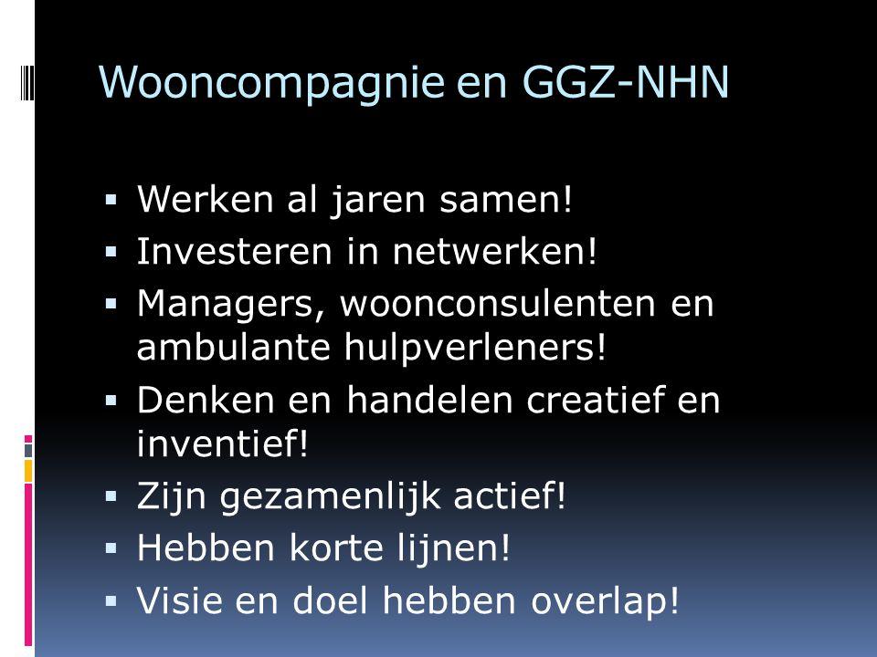 Wooncompagnie en GGZ-NHN  Werken al jaren samen!  Investeren in netwerken!  Managers, woonconsulenten en ambulante hulpverleners!  Denken en hande