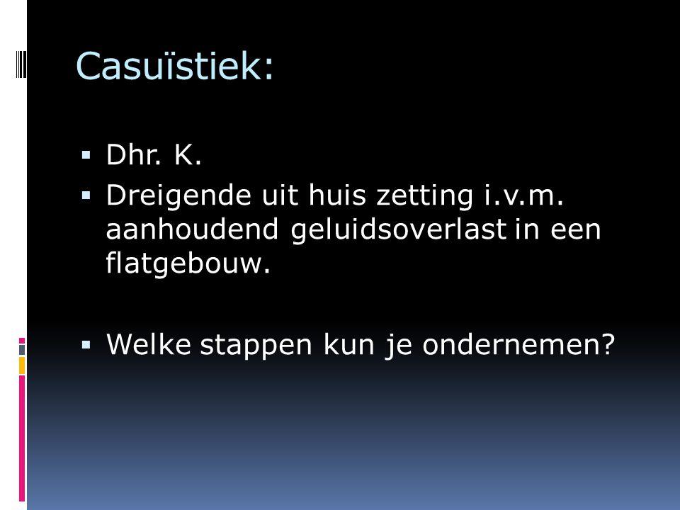 Casuïstiek:  Dhr. K.  Dreigende uit huis zetting i.v.m. aanhoudend geluidsoverlast in een flatgebouw.  Welke stappen kun je ondernemen?