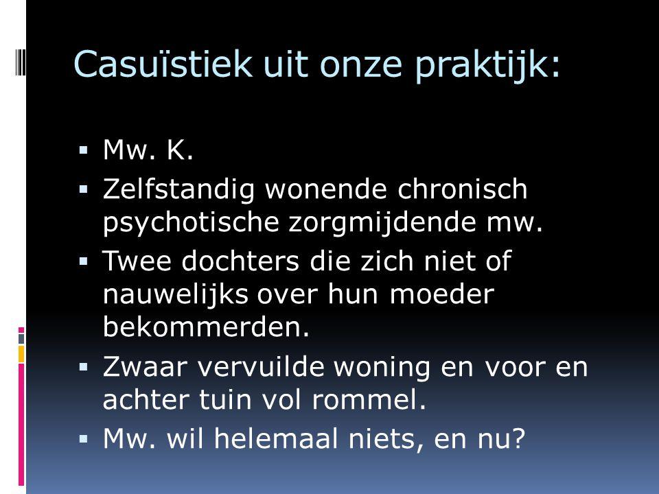 Casuïstiek uit onze praktijk:  Mw. K.  Zelfstandig wonende chronisch psychotische zorgmijdende mw.  Twee dochters die zich niet of nauwelijks over