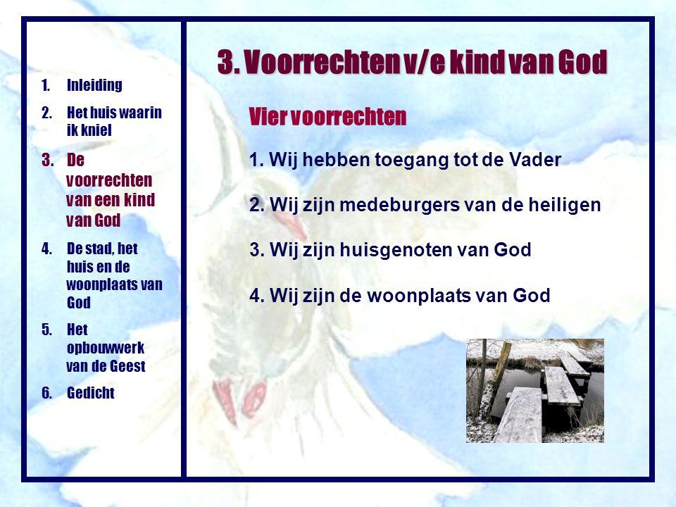 Vier voorrechten 1.Inleiding 2.Het huis waarin ik kniel 3.De voorrechten van een kind van God 4.De stad, het huis en de woonplaats van God 5.Het opbou