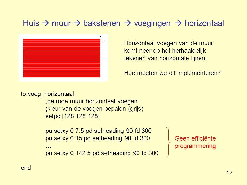 12 Huis  muur  bakstenen  voegingen  horizontaal Horizontaal voegen van de muur, komt neer op het herhaaldelijk tekenen van horizontale lijnen. Ho