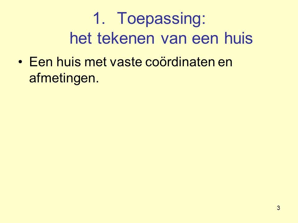 3 1.Toepassing: het tekenen van een huis Een huis met vaste coördinaten en afmetingen.