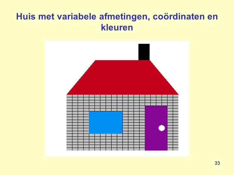 33 Huis met variabele afmetingen, coördinaten en kleuren