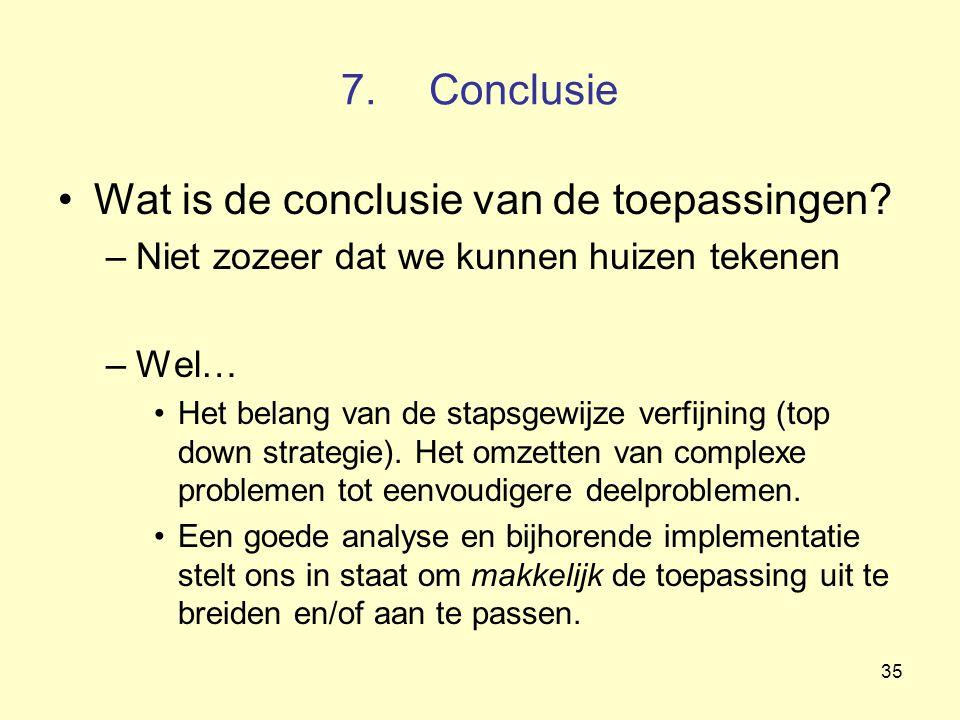 35 7.Conclusie Wat is de conclusie van de toepassingen? –Niet zozeer dat we kunnen huizen tekenen –Wel… Het belang van de stapsgewijze verfijning (top