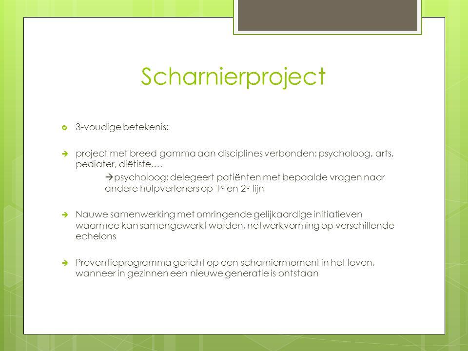 Scharnierproject  3-voudige betekenis:  project met breed gamma aan disciplines verbonden: psycholoog, arts, pediater, diëtiste,…  psycholoog: dele