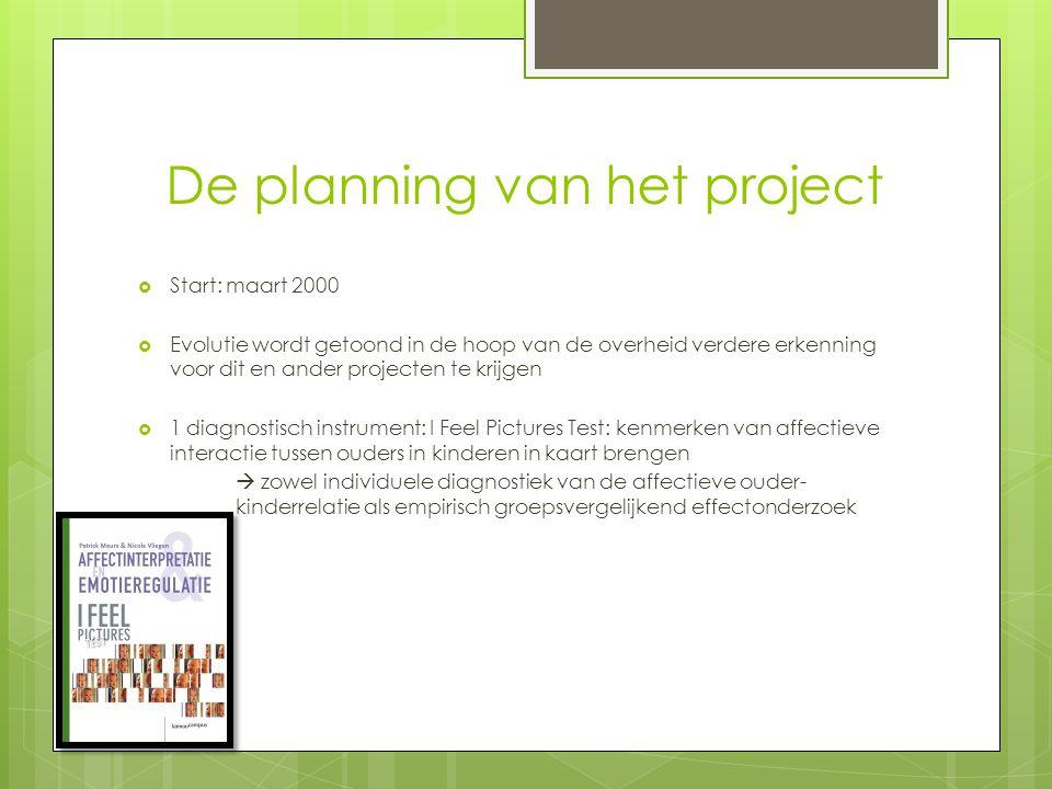 De planning van het project  Start: maart 2000  Evolutie wordt getoond in de hoop van de overheid verdere erkenning voor dit en ander projecten te k