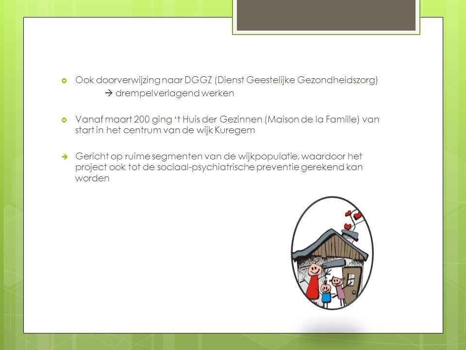  Ook doorverwijzing naar DGGZ (Dienst Geestelijke Gezondheidszorg)  drempelverlagend werken  Vanaf maart 200 ging 't Huis der Gezinnen (Maison de l