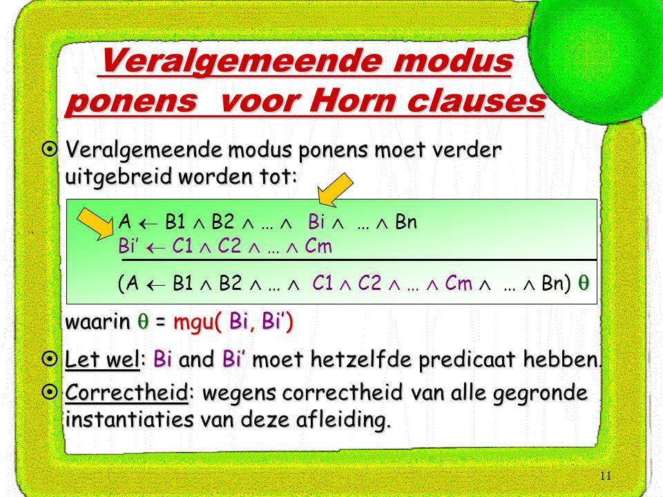 11 Veralgemeende modus ponens voor Horn clauses A  B1  B2  …  Bi  …  Bn Bi'  C1  C2  …  Cm  (A  B1  B2  …  C1  C2  …  Cm  …  Bn)   Veralgemeende modus ponens moet verder uitgebreid worden tot:  waarin  = mgu( Bi, Bi')  Let wel: Bi and Bi' moet hetzelfde predicaat hebben.