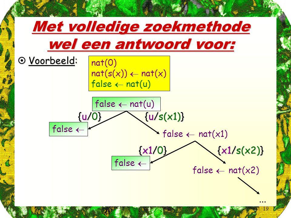 19 Met volledige zoekmethode wel een antwoord voor:  Voorbeeld: nat(0) nat(s(x))  nat(x) false  nat(u) false  nat(x1) {u/s(x1)} false  nat(x2) {x1/s(x2)}...