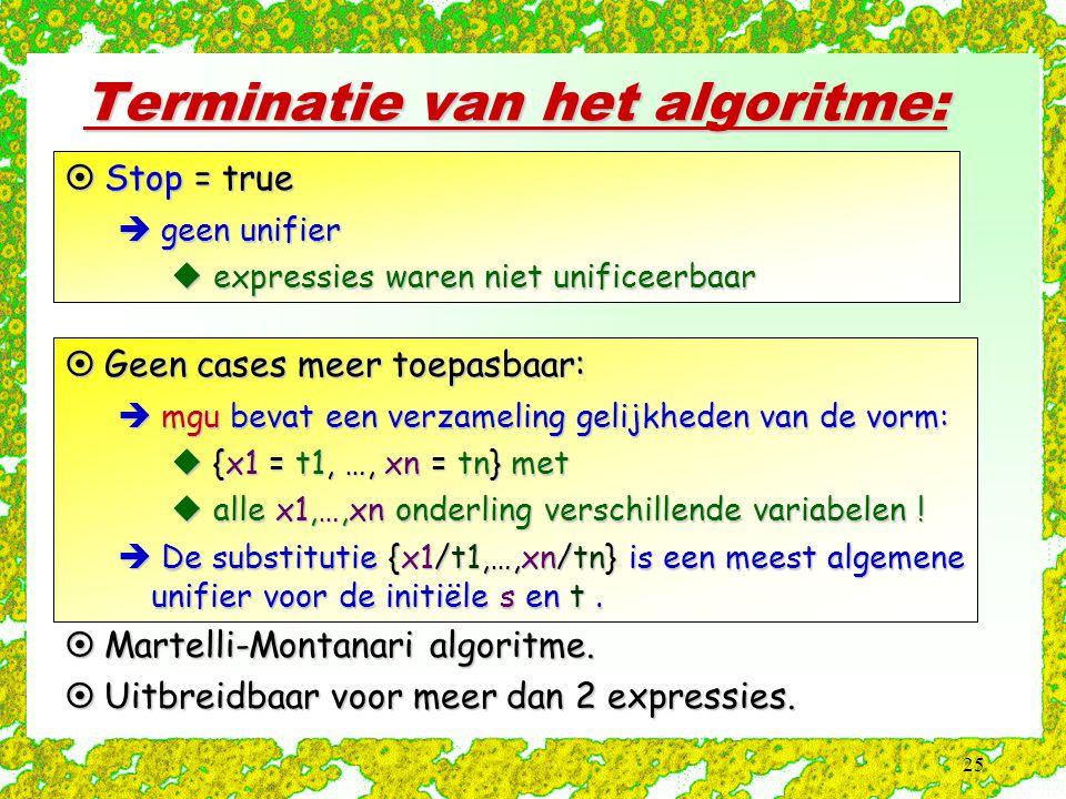25 Terminatie van het algoritme:  Stop = true  geen unifier  expressies waren niet unificeerbaar  Geen cases meer toepasbaar:  mgu bevat een verzameling gelijkheden van de vorm:  {x1 = t1, …, xn = tn} met  alle x1,…,xn onderling verschillende variabelen .