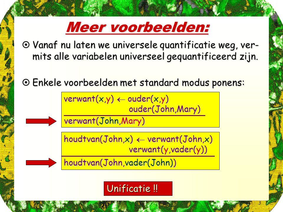 3 Meer voorbeelden:  Vanaf nu laten we universele quantificatie weg, ver- mits alle variabelen universeel gequantificeerd zijn.