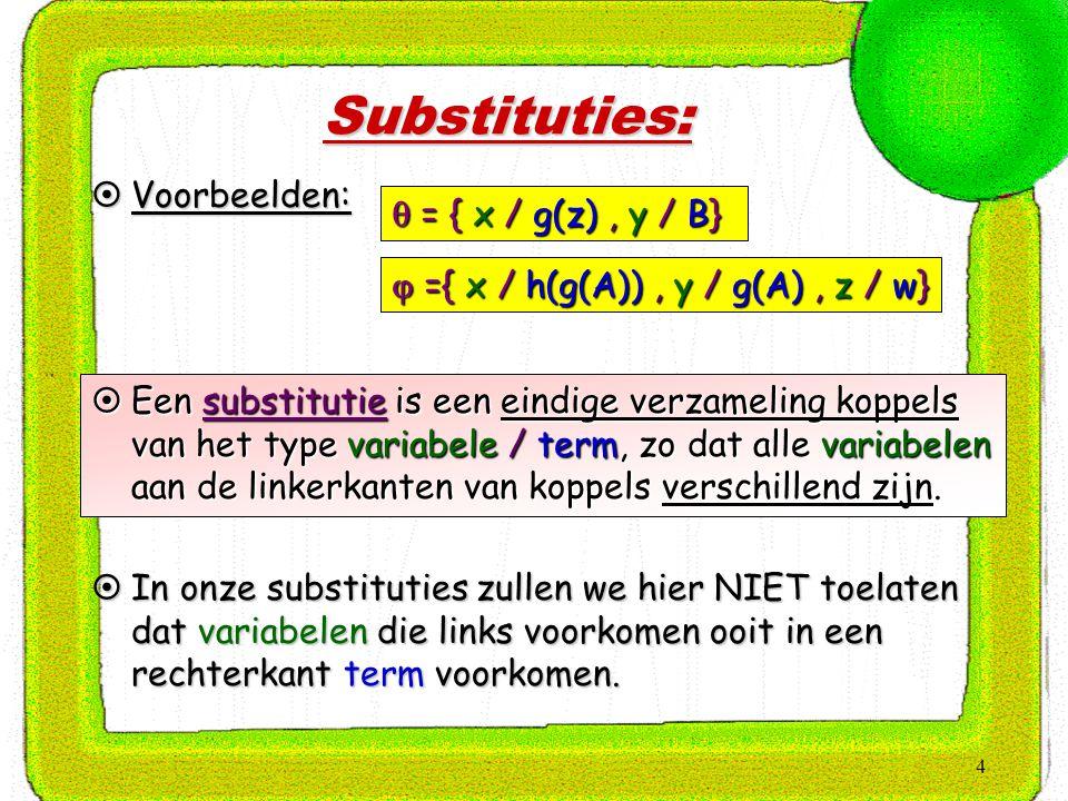 4 Substituties:  Voorbeelden:  ={ x / h(g(A)), y / g(A), z / w}  = { x / g(z), y / B}  Een substitutie is een eindige verzameling koppels van het type variabele / term, zo dat alle variabelen aan de linkerkanten van koppels verschillend zijn.