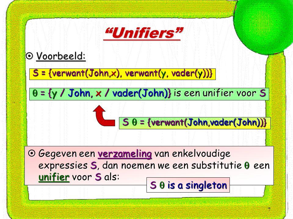 7 Unifiers  Voorbeeld: S = {verwant(John,x), verwant(y, vader(y))}  = {y / John, x / vader(John)} is een unifier voor S S  = {verwant(John,vader(John))}  Gegeven een verzameling van enkelvoudige expressies S, dan noemen we een substitutie  een unifier voor S als: S  is a singleton