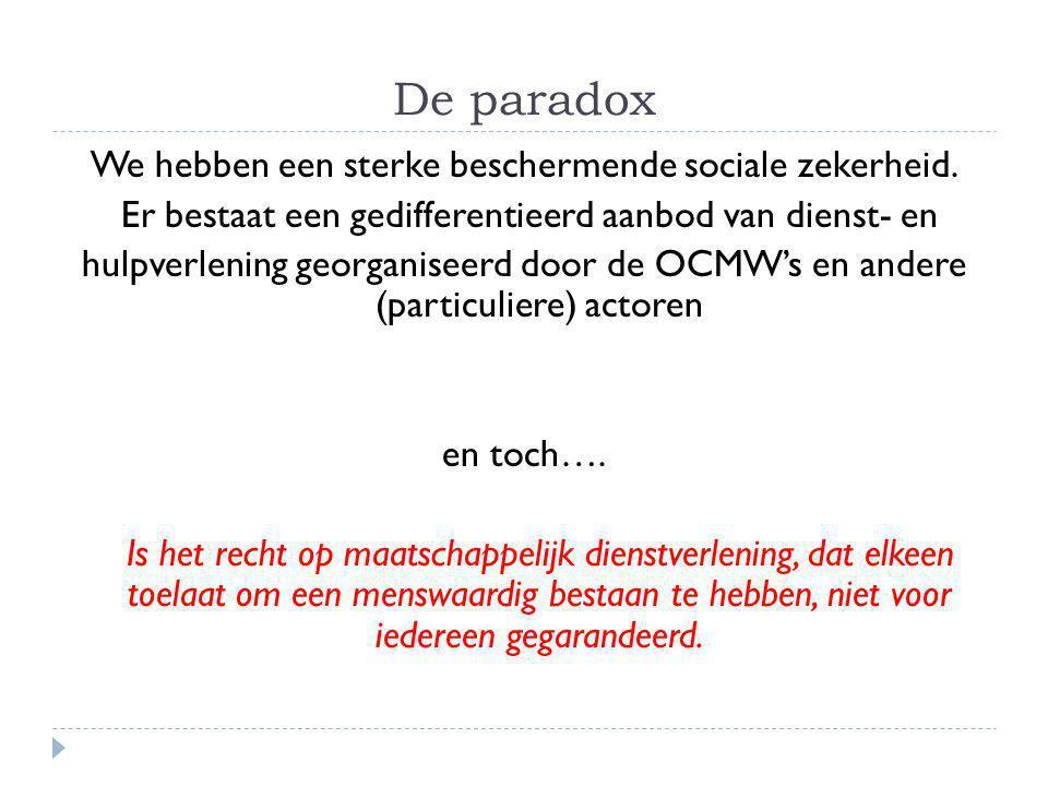 De paradox We hebben een sterke beschermende sociale zekerheid.