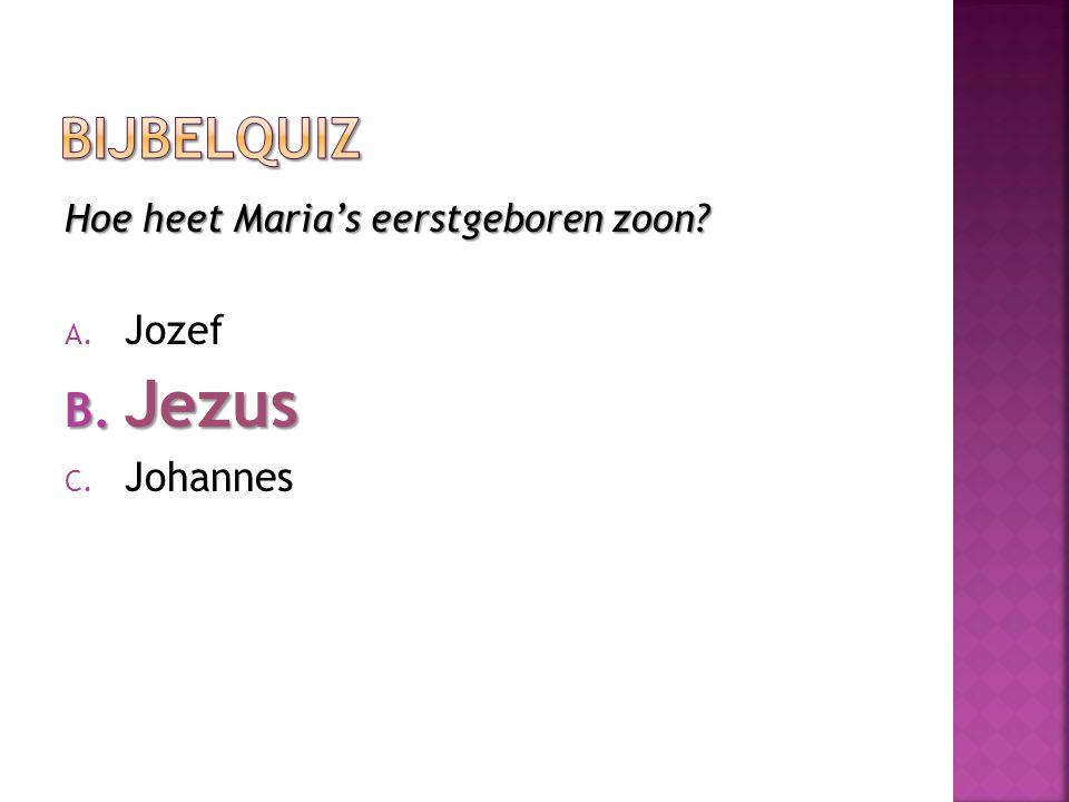 Hoe heet Maria's eerstgeboren zoon? A. Jozef B. Jezus C. Johannes