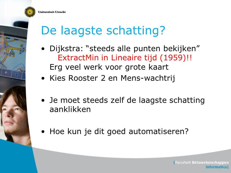 """De laagste schatting? Dijkstra: """"steeds alle punten bekijken"""" ExtractMin in Lineaire tijd (1959)!! Erg veel werk voor grote kaart Kies Rooster 2 en Me"""
