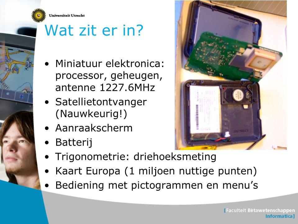 Wat zit er in? Miniatuur elektronica: processor, geheugen, antenne 1227.6MHz Satellietontvanger (Nauwkeurig!) Aanraakscherm Batterij Trigonometrie: dr