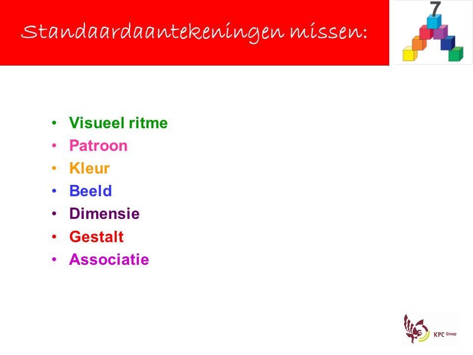 Visueel ritme Patroon Kleur Beeld Dimensie Gestalt Associatie Standaardaantekeningen missen: