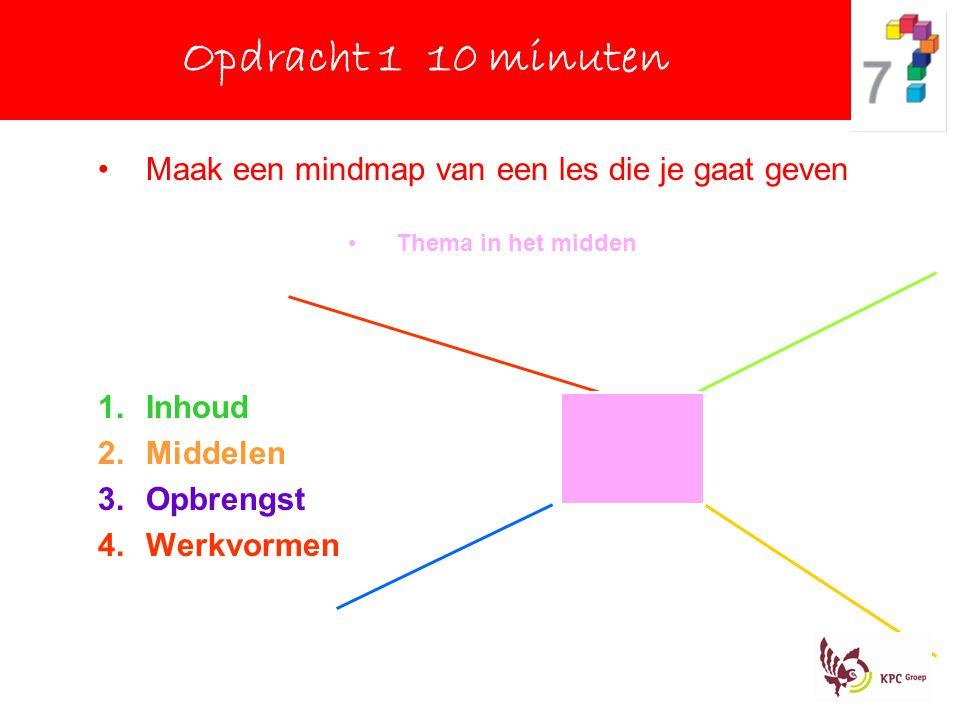 Maak een mindmap van een les die je gaat geven Thema in het midden 1.Inhoud 2.Middelen 3.Opbrengst 4.Werkvormen Opdracht 1 10 minuten