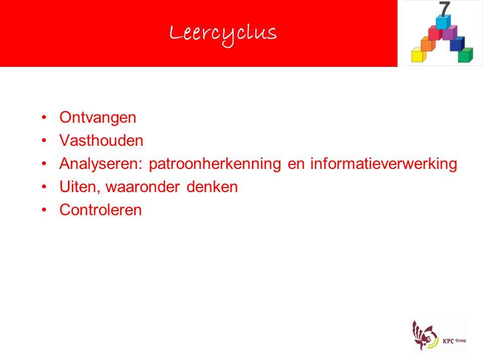 Leercyclus Ontvangen Vasthouden Analyseren: patroonherkenning en informatieverwerking Uiten, waaronder denken Controleren