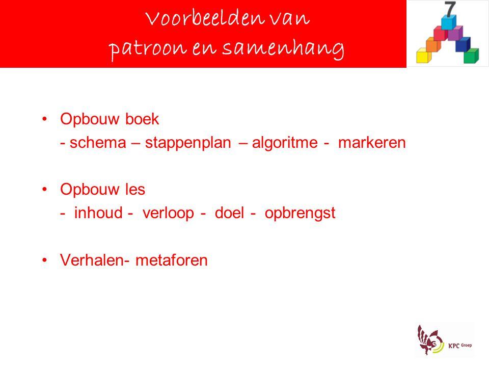 Voorbeelden van patroon en samenhang Opbouw boek - schema – stappenplan – algoritme - markeren Opbouw les - inhoud - verloop - doel - opbrengst Verhalen- metaforen