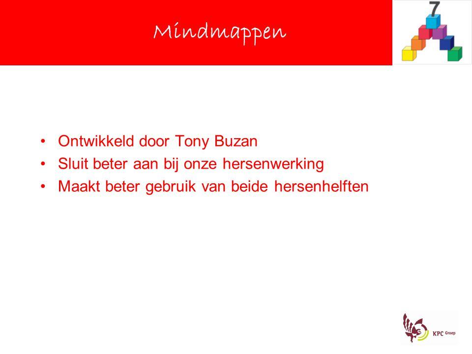 Mindmappen Ontwikkeld door Tony Buzan Sluit beter aan bij onze hersenwerking Maakt beter gebruik van beide hersenhelften