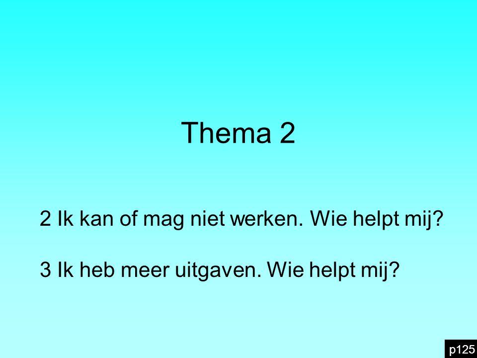 Thema 2 2 Ik kan of mag niet werken. Wie helpt mij? 3 Ik heb meer uitgaven. Wie helpt mij? p125