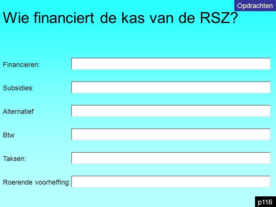 Wie financiert de kas van de RSZ? p116 Opdrachten Subsidies: Financieren: Alternatief Btw Taksen: Roerende voorheffing: