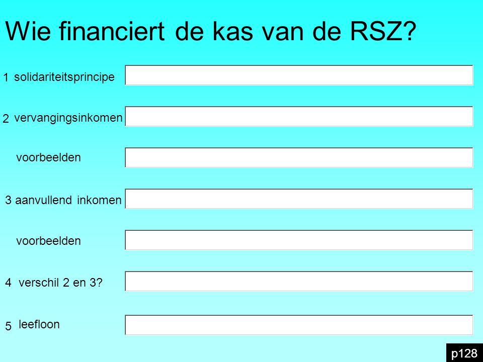 Wie financiert de kas van de RSZ? p128 2 1 vervangingsinkomen 3 aanvullend inkomen 4 voorbeelden 5 solidariteitsprincipe verschil 2 en 3? leefloon