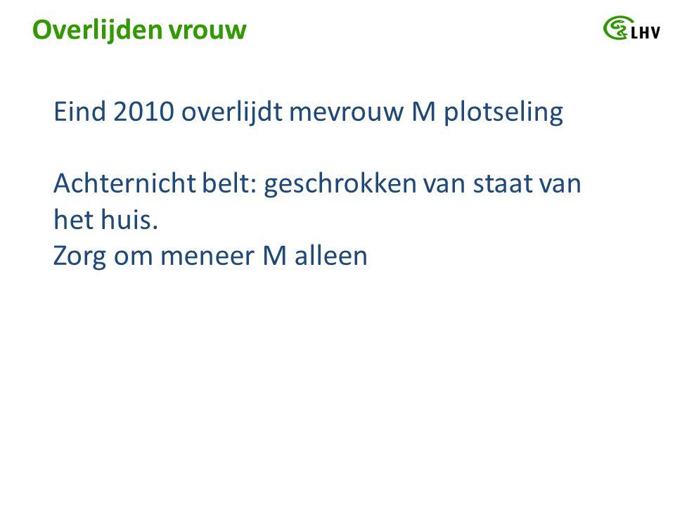 Overlijden vrouw Eind 2010 overlijdt mevrouw M plotseling Achternicht belt: geschrokken van staat van het huis. Zorg om meneer M alleen