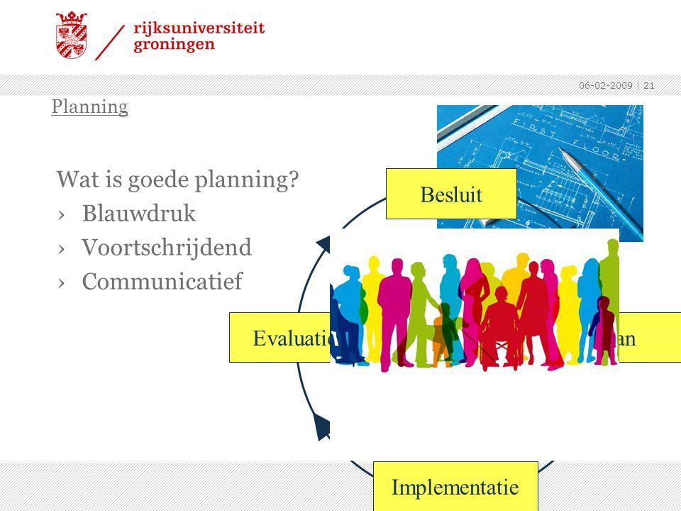 06-02-2009 | 21 Wat is goede planning? ›Blauwdruk ›Voortschrijdend ›Communicatief Planning Besluit Implementatie EvaluatiePlan